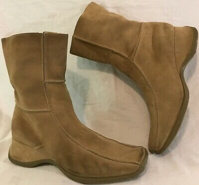 Fiore Leather Light Brown Mid Calf Suede Lovely Boots Size 6 (428v)