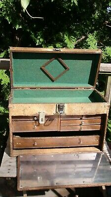 Antique / Vintage Machinist Carpenter's Tool Box Chest Union Tool Co.