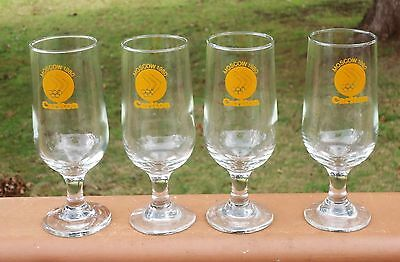 Lovely Carlton Moscow 1980 Olympic Games Stemmed Beer Glasses x 4