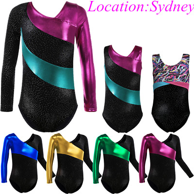 AU Store Shiny Leotards Girls Gymnastics Ballet Costumes Stripe Bodysuits Outfit
