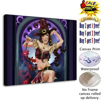 """Sexy Witch HD Canvas print Painting Home Decor Picture Room Wall art  12""""x16"""""""