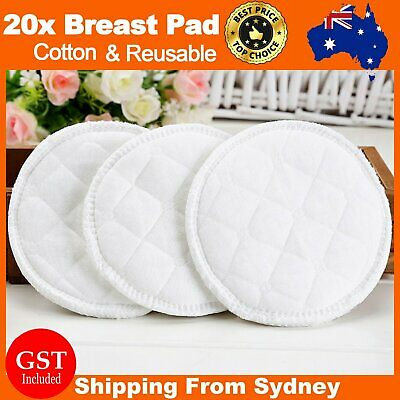 20pcs Cotton Reusable Breast Pad Nursing Waterproof Organic Plain Washable Pads
