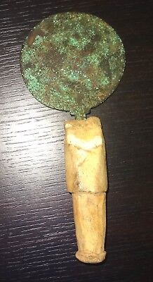 Mirror Roman Bronze with Handle 100 ad - Ancient Roman Bronze Mirror Handle
