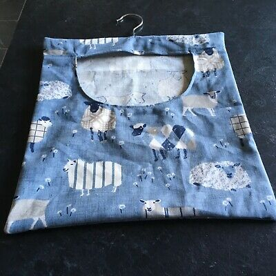 Hand Made Laundry Peg Bag With Wooden Hanger Linen Sheep Theme