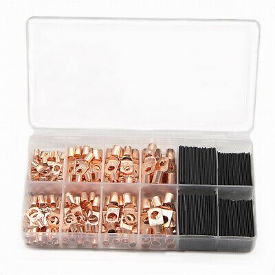 260Pcs/Kit Wire Copper Ring Terminal Lug Cable Connectors Seals Out Moisture