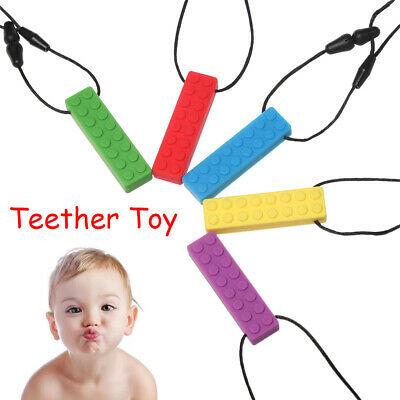 1pc Kids Sensory Chew Necklace Brick Chewy Autism Silicone Biting Pencil Topper