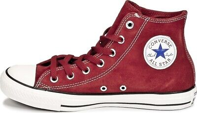 Scarpe Converse All Star Hi Suede 155243C Rosso Red Uomo Donna Unisex Chuck Tayl