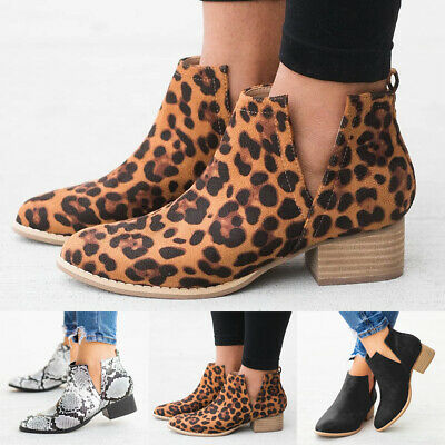 Women Ladies Chelsea Boots V-Cut Low Heel Block Chunky Booties Casual Shoes Size