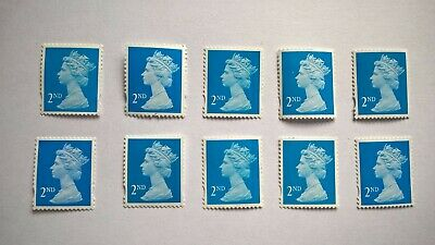 10 Unfranked Second Class Blue Stamps (Off Paper - No Gum)