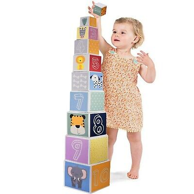 Nesting & Stacking Blocks Set with Numbers, Animals, Shapes & Colors, 34 inches