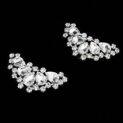 2PCS hoe Clips Rhinestones Metal Faux Pearl Bridal Prom Shoes Buckle Decores .