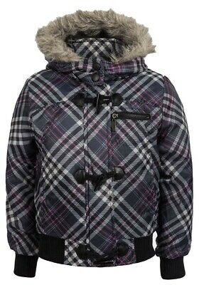 Girls Brave Soul Grey Multi Check Padded Furry Detachable Hooded Jacket.7-13yrs