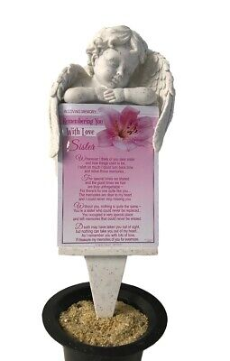 Grave Card Sister Graveside Plaque Holder Stake Ornament Statue Angel Memorial