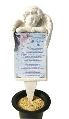 Grave Card Dad Graveside Plaque Holder Stake Ornament Statue Angel Memorial Set