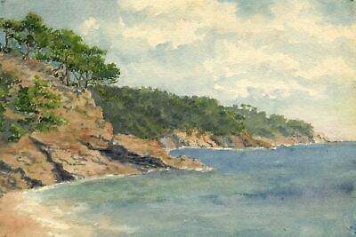 F.A. Eastwood, Italian Coast with Stone Pines - Late 19th-century watercolour