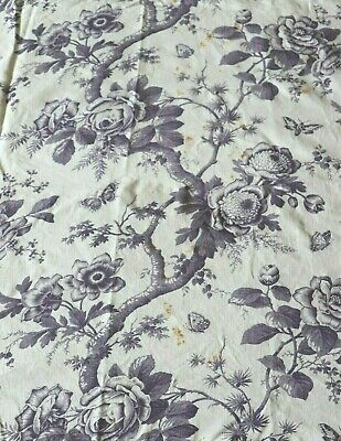 """English Or French Antique Large Scale Floral Tree Printed Linen Fabric~26""""X33"""""""