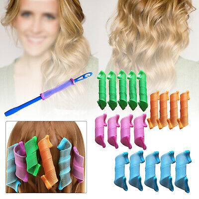 18X Set Magic Long Hair Curlers Curl Formers Spiral Rollers Styling Tool/Hook