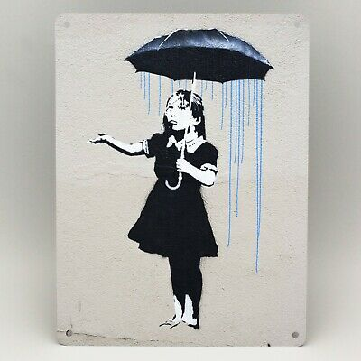 BANKSY NOLA GIRL UMBRELLA BLUE Metal Sign Poster Print GRAFFITI WALL ART