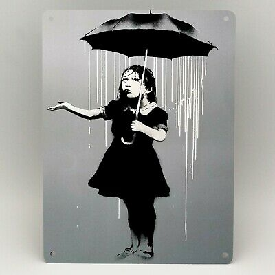 BANKSY NOLA GIRL UMBRELLA WHITE Metal Sign Poster Print GRAFFITI WALL ART