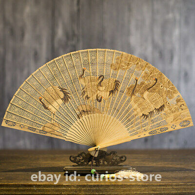 "7.9""Chinese Sandalwood Carved Pine Tree Red-crowned Crane Hand Folding WoodenFan"