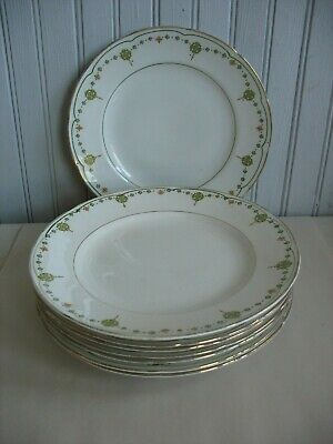 "8 VINTAGE CROOKSVILLE CHINA CO STINTHAL CHINA 9"" PLATES Deco design Green orange"