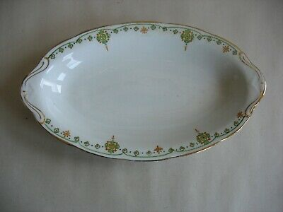 "VINTAGE CROOKSVILLE CHINA STINTHAL 9"" relish dish Deco design Green orange"