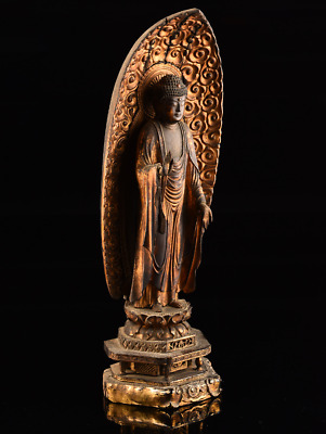 Japanese Antique Gautama Buddha Wooden Statue Very Old Possibly Mid Edo 18th C