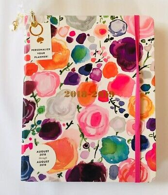 KATE SPADE  AGENDA PLANNER LARGE FLORAL 2018 2019 Watercolor Gold Free Charm