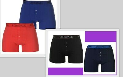 MENS NAVY 2 PACK LONSDALE BOXERS SHORTS UNDERWEAR