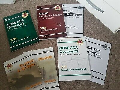 GCSE AQA (CGP books) Combined science, Geography, English & Maths Revision Books