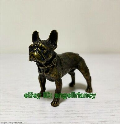 Collectible Tibet old Bronze Chapus Dog brave statue figurine Mini Shar Pei