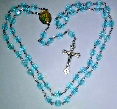 AQUAMARINE-COLORED ROSARY Catholic plastic prayer beads Virgin Mary Jesus Christ