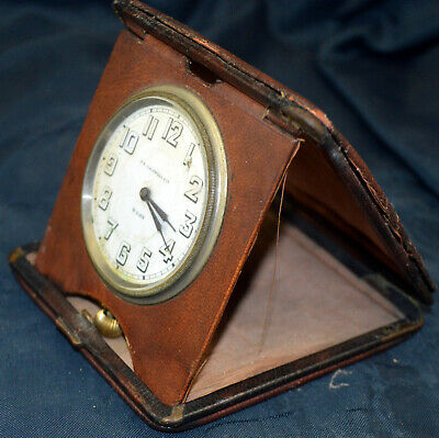 Antique Swiss J.E. Caldwell & Co Travel Clock Folding Leather Case 15 jewel