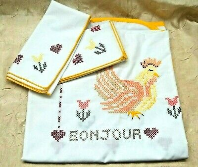 French Country Themed Cross Stitched Tablecloth with Matching Napkins Rooster