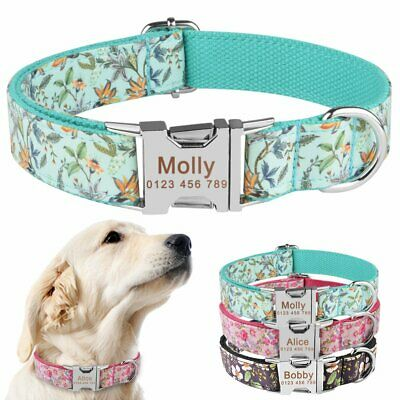Personalized Dog Collar Floral Nylon Small Large Pet Free Engraved Name ID XS-L
