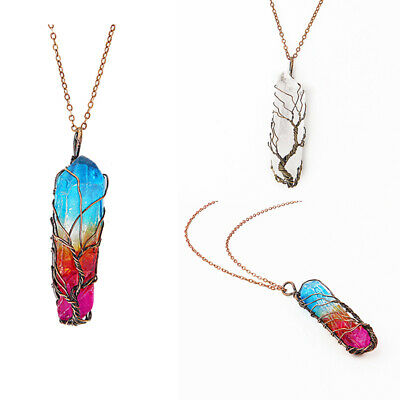 Rainbow Crystal Tree Of Life Chakra Pendant Silver Wire Wrap Gemstone Necklace