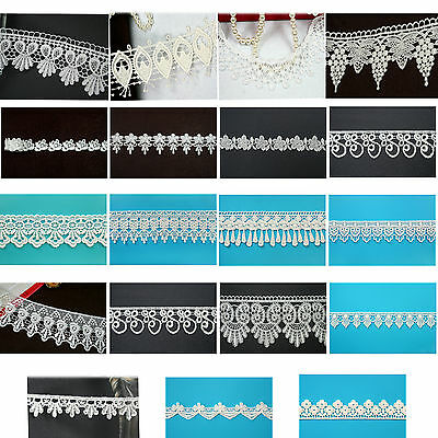 """5/8"""" 0.75"""" 1"""" 1.75"""" 2"""" 2.5"""" 3.25"""" """" Ivory Embroidery Venice Lace Trim by Yard"""