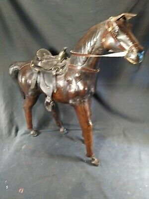 Large MCM Handmade Leather Wood Thoroughbred Horse Sculpture ~FREE SHIPPING