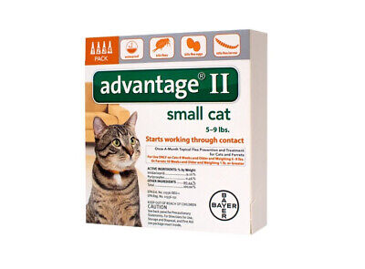 Bayer Advantage II Flea Control for Small Cats 5-9 lbs - Pack of 4