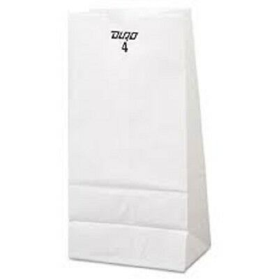 1000 White 12# Paper Bags Reusable Recyclable 7.25 X 4.5 X 13.75 - 2 Packs / 500