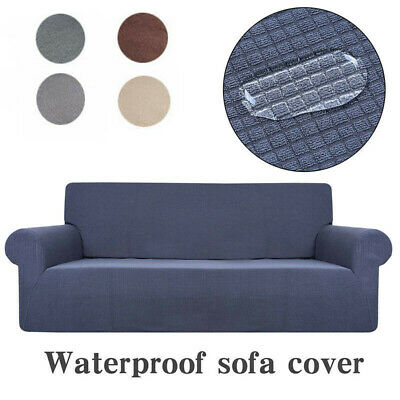 Sofa Fleece Slipcover Stretch Waterproof Cover Settee Protector 4Seater AU Stock