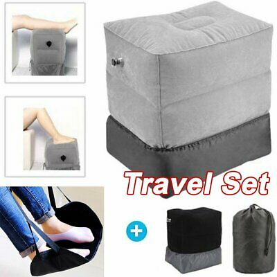 2019 Inflatable Travel Flight Pillow for Foot Rest + Portable Feet Hammock Set