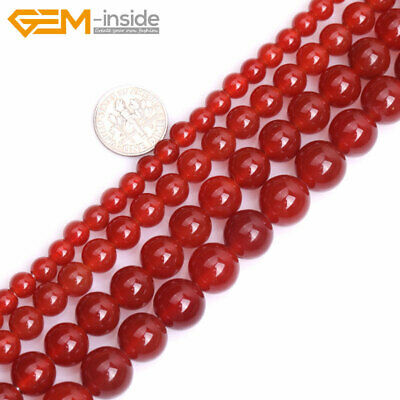 """Wholesale 6-12mm Red Agate Stone Round Ball Spacer Loose Beads 15"""" Big Hole"""