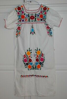 Vintage Embroidered Flower Dress Woman Nice