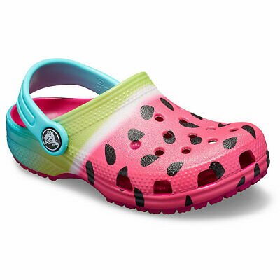 Kids Crocs CLASSIC Ombre Graphic Clog Sandals Shoes in Candy Pink, 205653-6X0