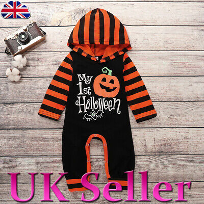 UK Infant Kids Baby Girls Boys My 1st Halloween Stripe Jumpsuit Romper Outfits