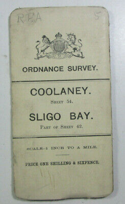 1899 Old Antique OS Ordnance Survey of Ireland One-Inch Map Sheet 54 Coolaney