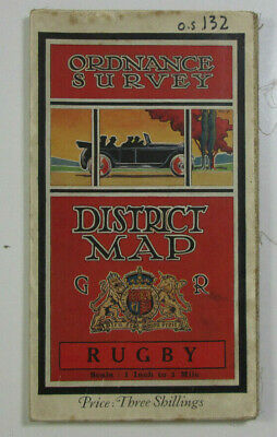 1912 Old Antique OS Ordnance Survey One-Inch Third Edition District Map Rugby