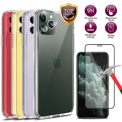 For iPhone 11/11 Pro Max Ultra-thin Slim Clear Case Cover With Screen Protector