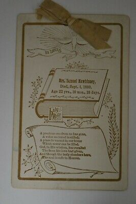 1893 Cabinet Card Remembrance/Mourning/Funeral Card by George Mitchell